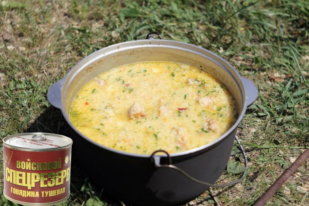 Суп харчо в виде каши с тушенкой рецепт